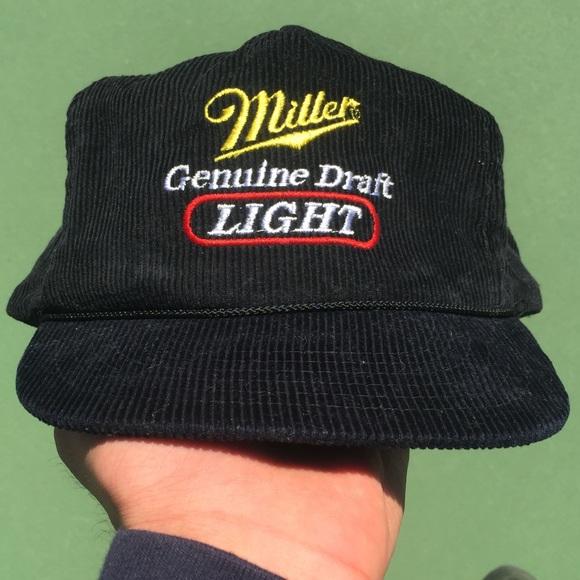 20b0abcf7a4 Vtg 90s Miller Lite Corduroy Snapback Hat. M 5ae66a1145b30c9e258ea859